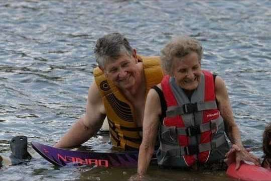 "Koy Butler and ""GrandJanie"" water-skiing at 89 years old!"